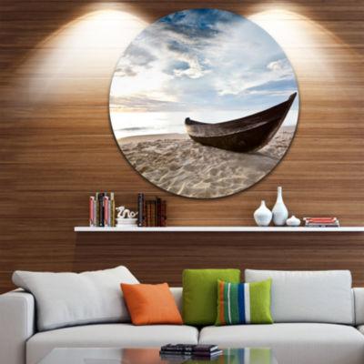 Design Art Old Fisherman Boat Circle Metal Wall Art