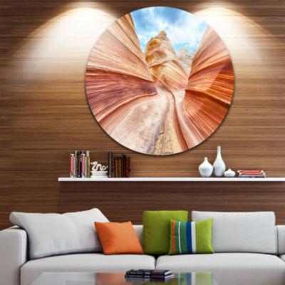 Design Art Swirling Dune Sandstones Circle Metal Wall Art