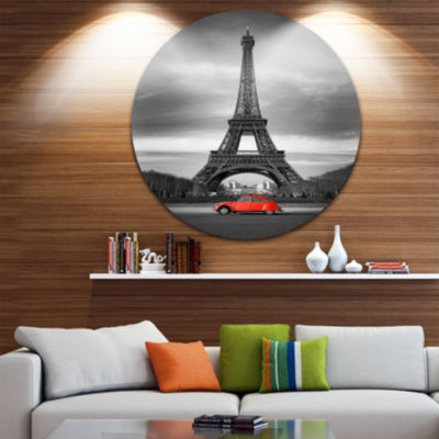 Design Art Eiffel and Old Red Car Circle Metal Wall Art