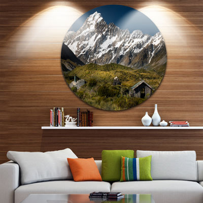 Design Art Foggy Mountains and Valley Circle MetalWall Art
