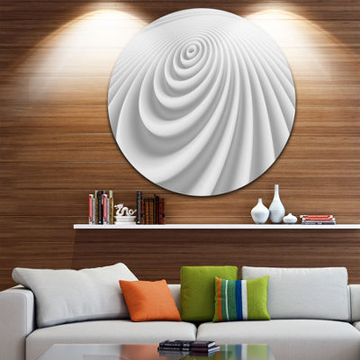 Design Art Fractal Rounded White 3D Waves Circle Metal Wall Art