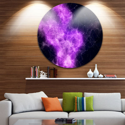 Design Art Fractal Violet Nebula Circle Metal WallArt