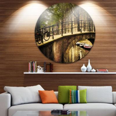 Design Art Romantic Bridge Over Canal Circle MetalWall Art