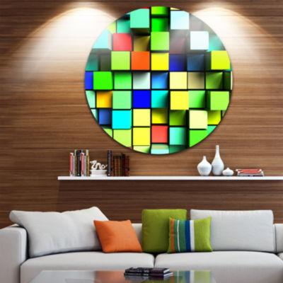 Design Art Colored 3D Cubes Wall Design Circle Metal Wall Art