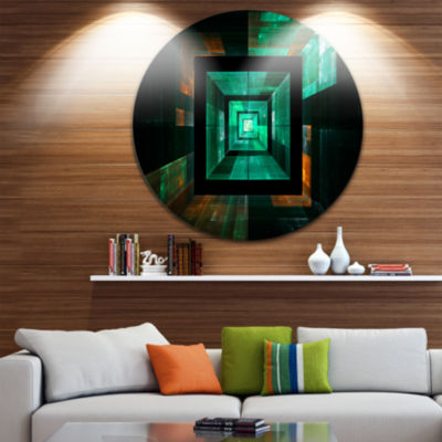 Design Art Deep Green Infinite Cube Circle Metal Wall Art
