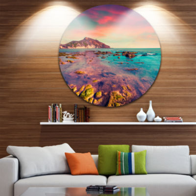 Design Art Giallonardo Beach Colorful Sunset Circle Metal Wall Art