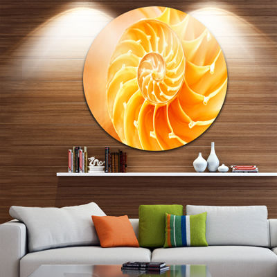 Design Art Yellow Nautilus Shell Circle Metal WallArt