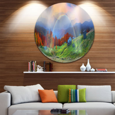 Design Art Huts Over Autumn Mountains Circle MetalWall Art