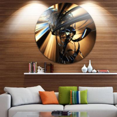 Design Art Fractal 3D Dark Brown Tangle Circle Metal Wall Art