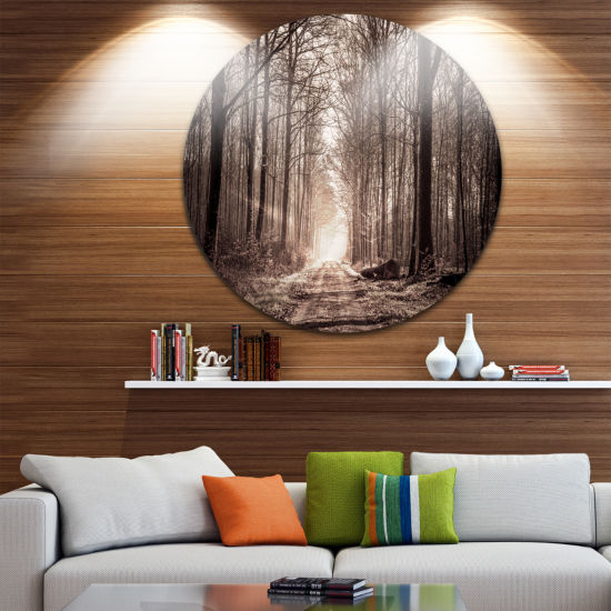 Design Art Forest Trail in Sepia Circle Metal WallArt