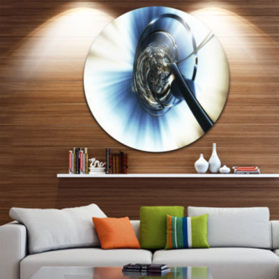 Design Art Fractal 3D Tangle in Middle Circle Metal Wall Art