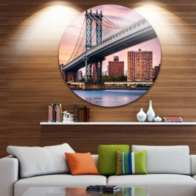 Design Art Manhattan Bridge Under Purple Sky Circle Metal Wall Art