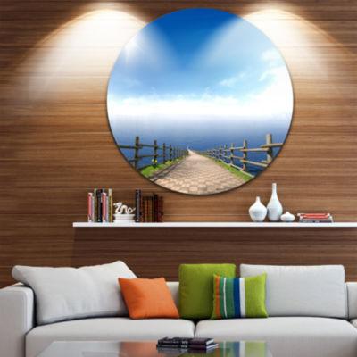 Design Art Endless Pier into Blue Sea Circle MetalWall Art