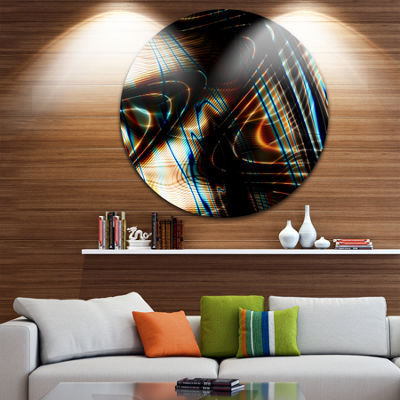 Design Art Fractal Curved Brown Black Stripes Circle Metal Wall Art