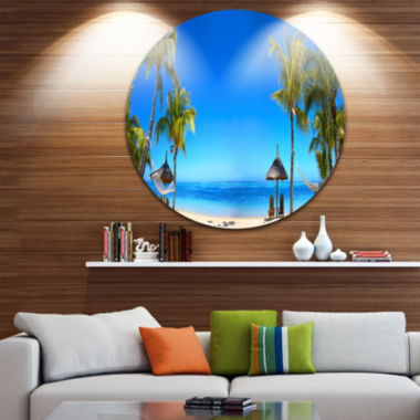 Design Art Mauritius Beach with Chairs Circle Metal Wall Art
