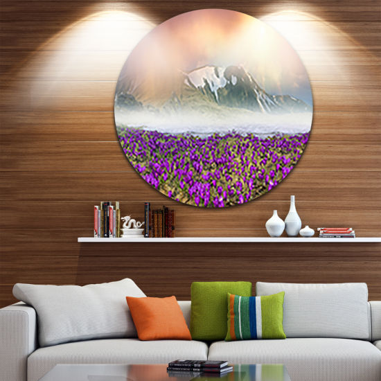 Design Art Spring Crocus Flowers Circle Metal WallArt