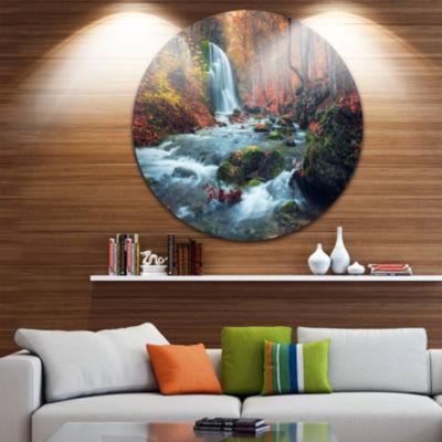Design Art Autumn Mountain Waterfall Long View Circle Metal Wall Art
