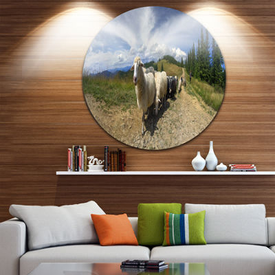 Design Art Shepherd and Sheep of Carpathian CircleMetal Wall Art