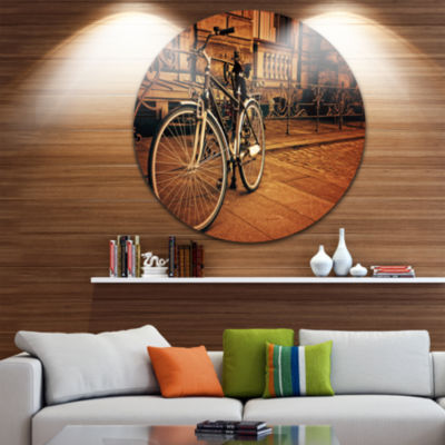 Design Art Retro Bicycle against Stone Wall CircleMetal Wall Art