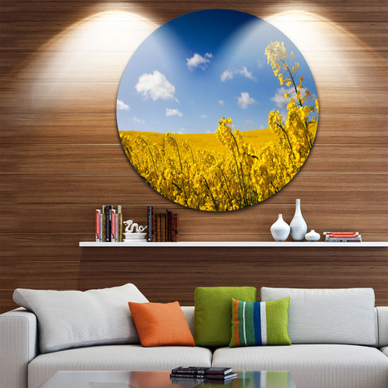 Design Art Yellow Canola Field Circle Metal Wall Art