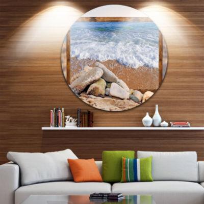 Design Art Framed Effect Waves and Rocks Circle Metal Wall Art