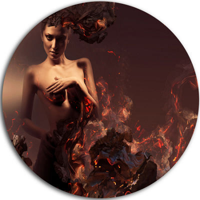 Design Art Nude Woman in Burning Ashes Circle Metal Wall Art