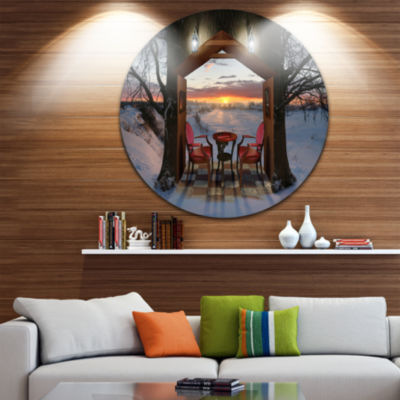Design Art Home Shaped Trees Collage Circle MetalWall Art