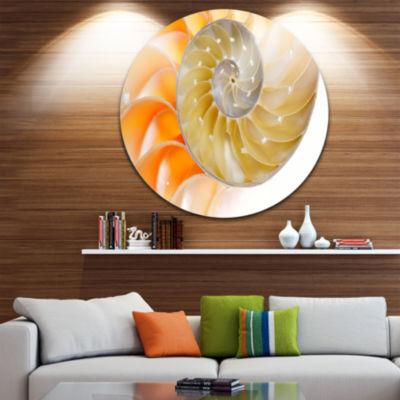 Design Art Isolated Nautilus Shell Circle Metal Wall Art