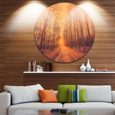 Design Art Forest Road into Sunrise Circle Metal Wall Art