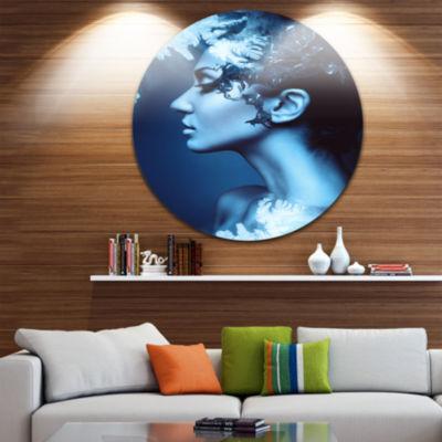 Design Art Winter Woman with Splash Circle Metal Wall Art