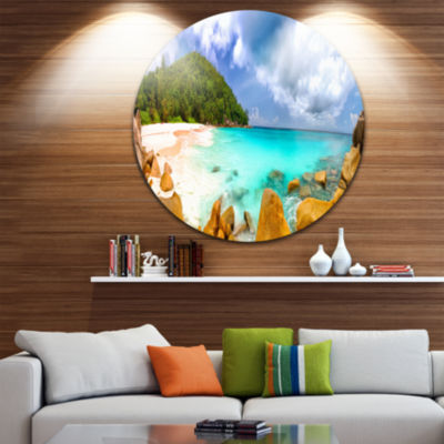 Design Art Seychelles Beach Panorama Circle MetalWall Art
