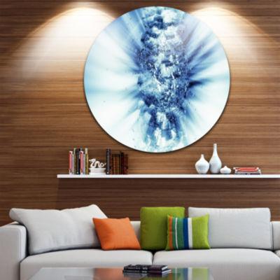 Design Art Fractal 3D Blue Splash Burst Circle Metal Wall Art