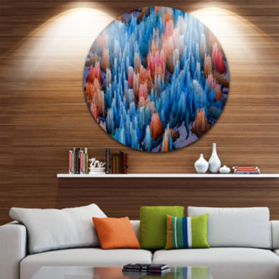Design Art Macro Render Structure Blue Red CircleMetal Wall Art