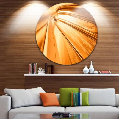 Design Art Fractal 3D Brown Stripes Circle Metal Wall Art