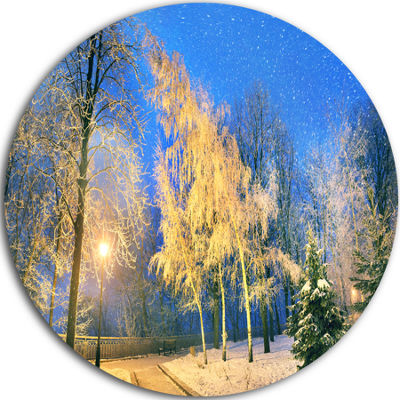 Design Art Bent Trees Mariinsky Garden Circle Metal Wall Art
