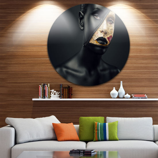 Design Art Woman with a Zip on Face Circle Metal Wall Art