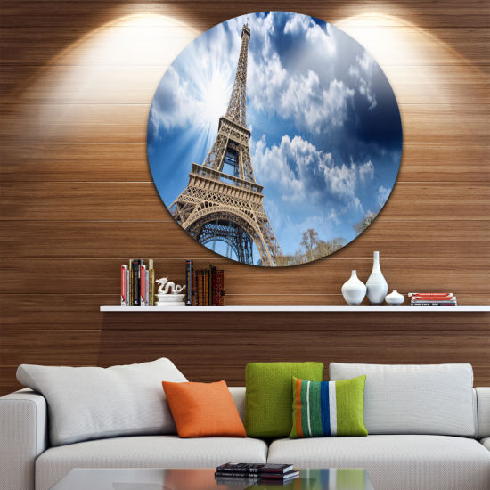 Design Art Eiffel Under Blue Sky Circle Metal WallArt
