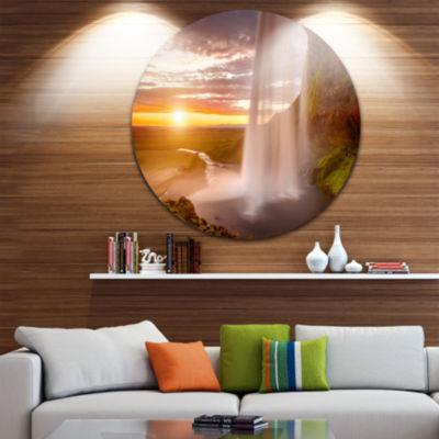 Design Art Seljalandsfoss Waterfall at Sunset Circle Metal Wall Art