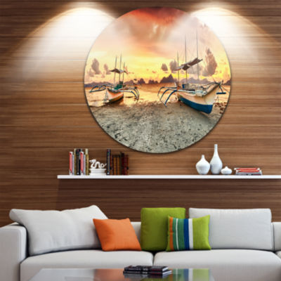 Design Art Boats at Sunset Circle Metal Wall Art