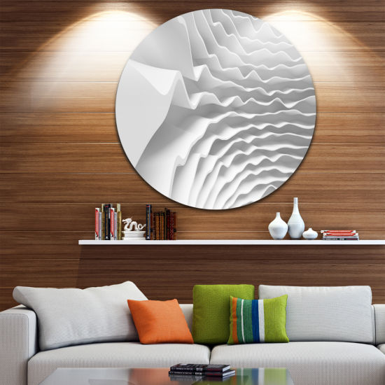 Design Art Fractal Curved White 3D Waves Circle Metal Wall Art