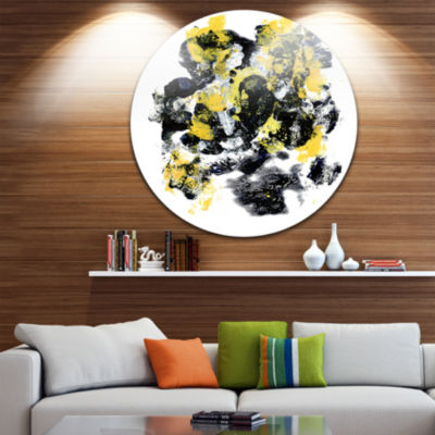 Design Art Fractal Golden Black Structure Circle Metal Wall Art
