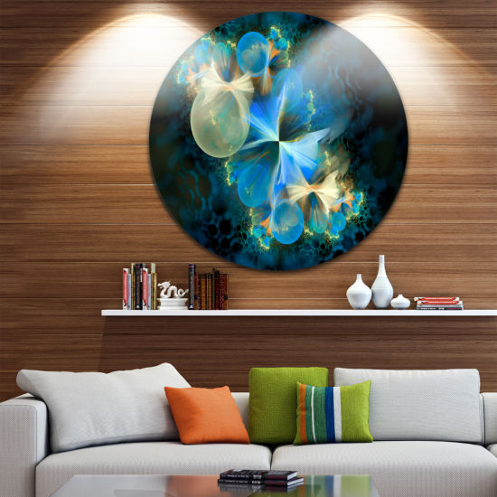 Design Art Fractal 3D Blue Bubbles Circle Metal Wall Art