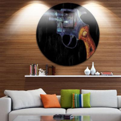 Design Art Retro Revolver Circle Metal Wall Art