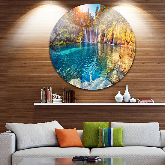Design Art Turquoise Water and Sunny Beams CircleMetal Wall Art