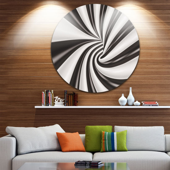 Design Art Fractal 3D Black N White Tunnel CircleMetal Wall Art