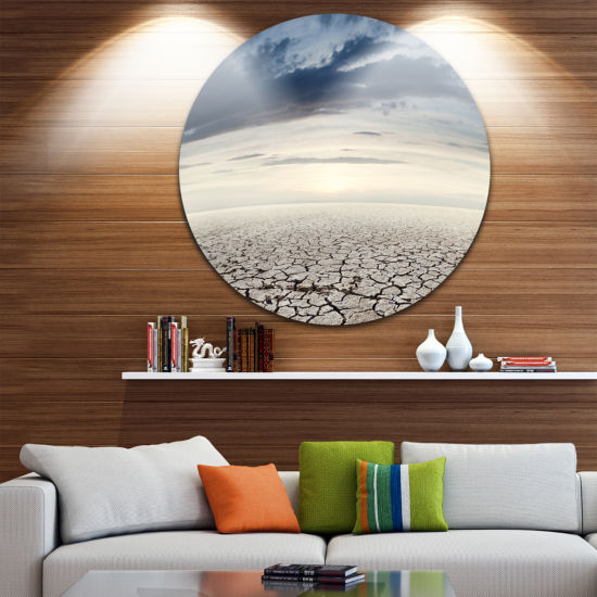 Design Art Dry Soil Dreamscape Circle Metal Wall Art