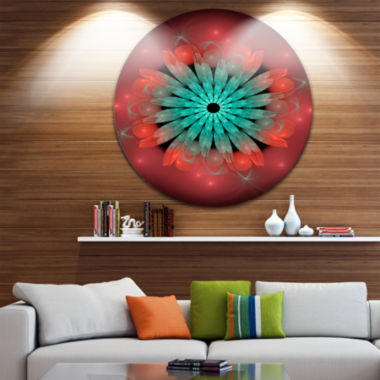 Design Art Fractal Blooming Blue Red Flower CircleMetal Wall Art