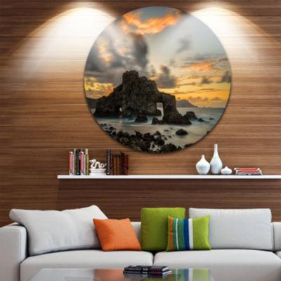 Design Art Yellow Atlantic Coast in Spain Circle Metal Wall Art