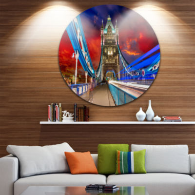 Design Art Storm Over Tower Bridge at Night CircleMetal Wall Art