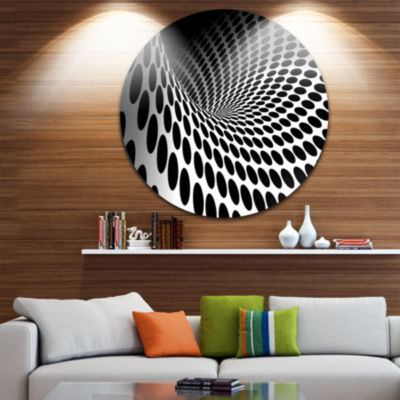 Design Art Waves and Circles Black n' White Circle Metal Wall Art